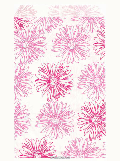 """100 Pink Floral Paper Bags, Flat: 4 x 6 inch - Pink Flowers on White Paper, 4x6"""""""