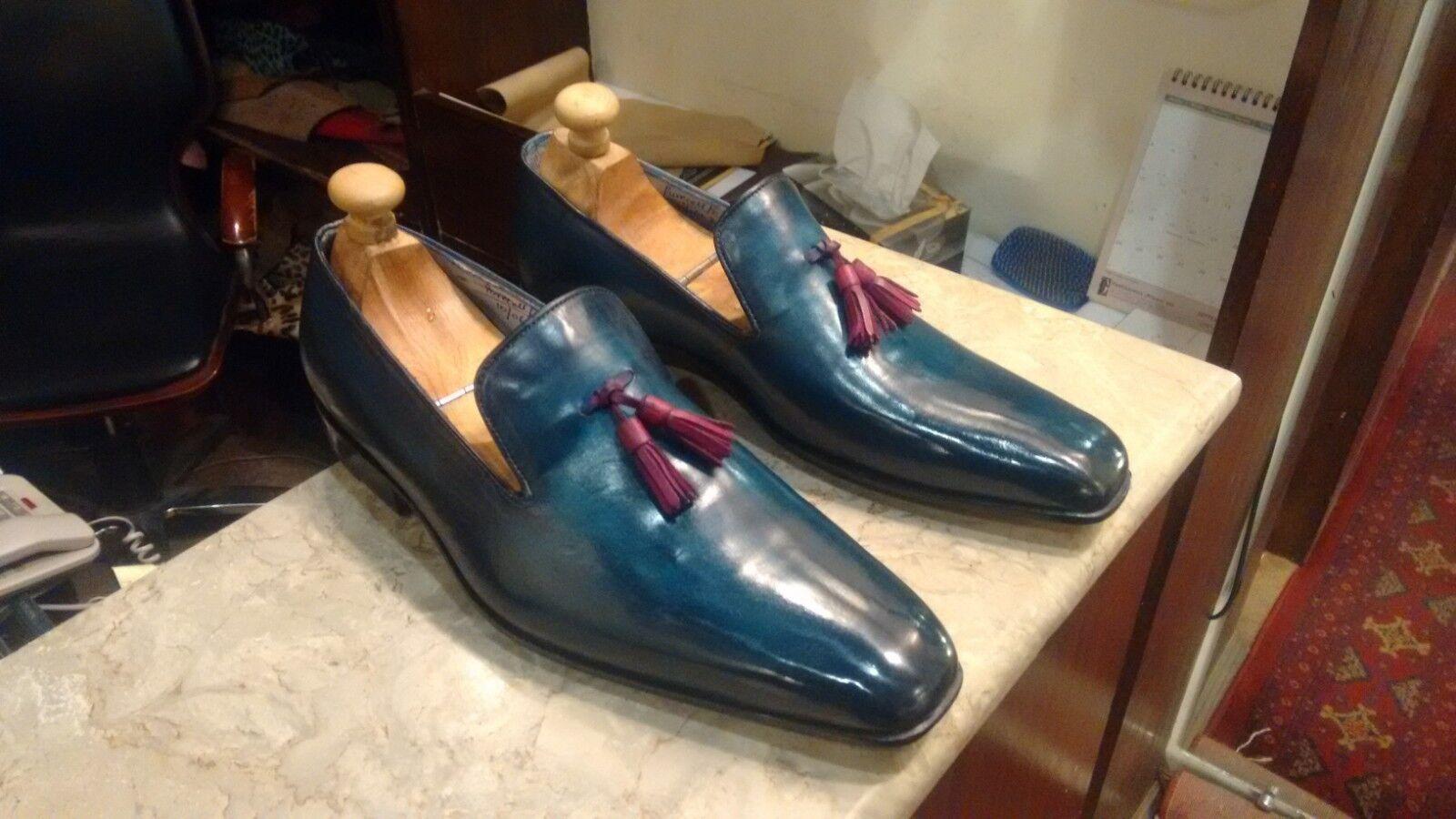 Pátina azul hecho a mano toda Corte Mocasines para hombres zapatos hechos personalizados para hombres