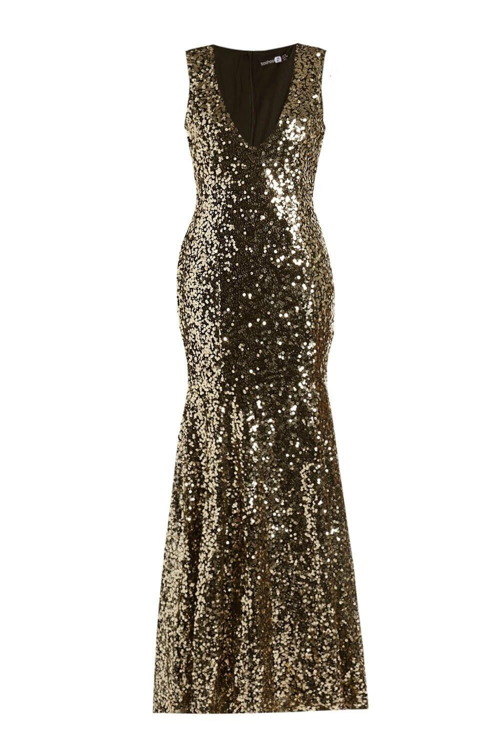 BNWT Boohoo  Size 10 gold Sequin Fishtail Maxi Prom Gown Dress new