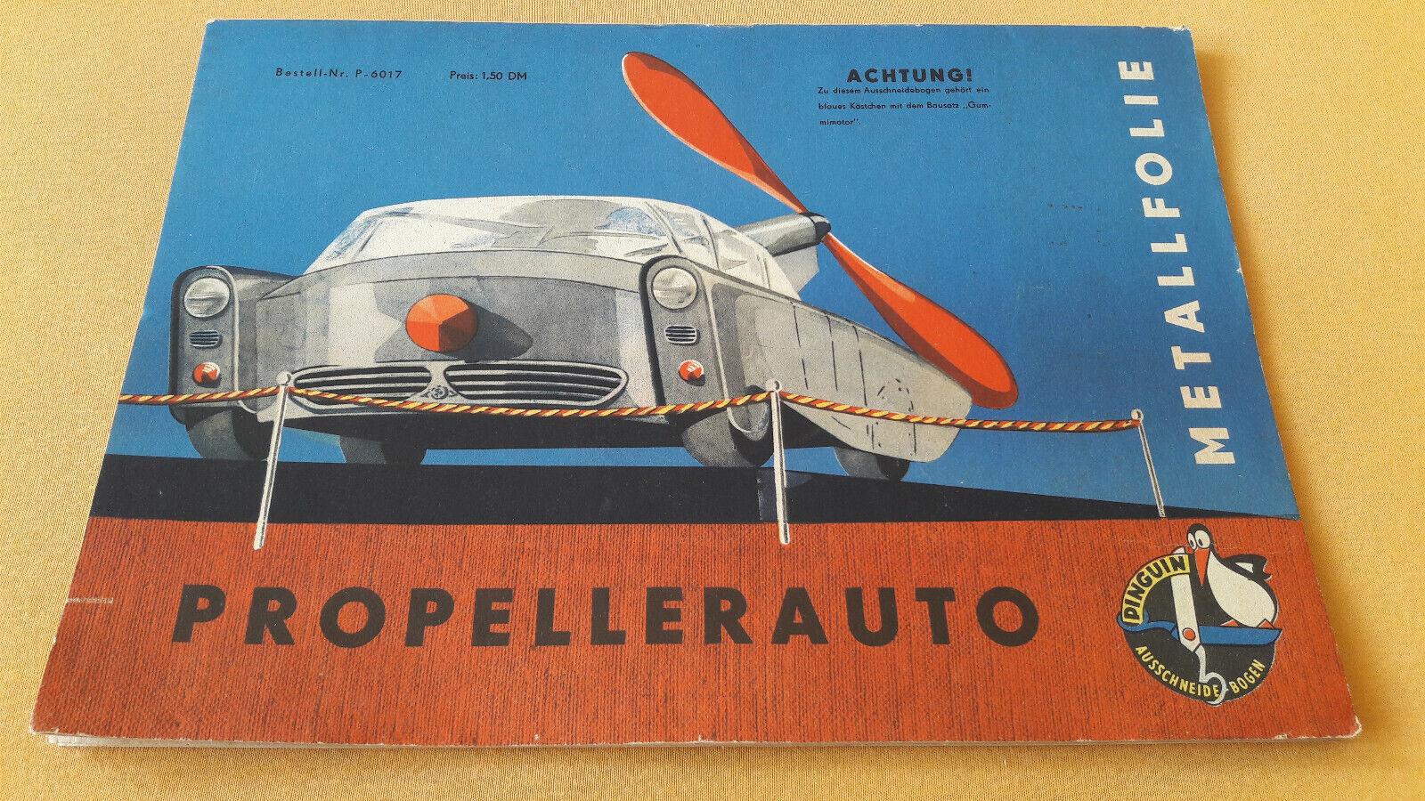Modellbogen Propellerauto Pinguin Ausschneidebogen Verlag Junge Welt 1960