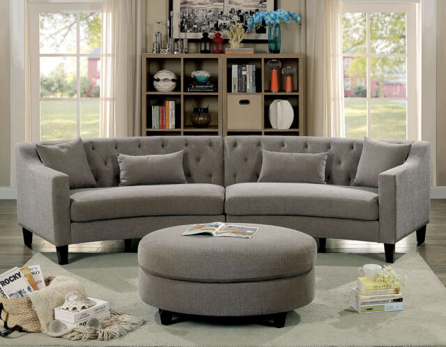 Gray Rounded Design Contemporary Tufted Sectional Sofa Pillows Sloped Style Arms