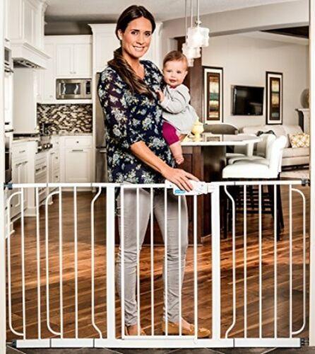 Home Kitchen Accessory Hallway Door Pet Toddler White Walk Through Safety Gate