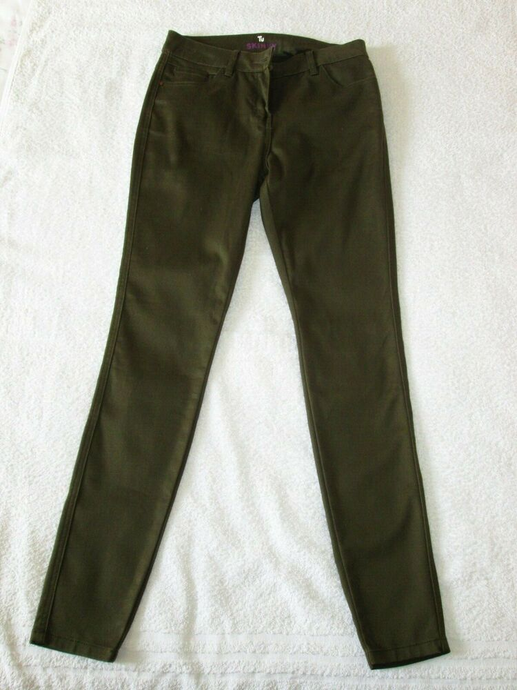 """tu Skinny"" Jean Slim Kaki Vert Olive Coton élasthanne Pantalon, Taille 10 Regular"