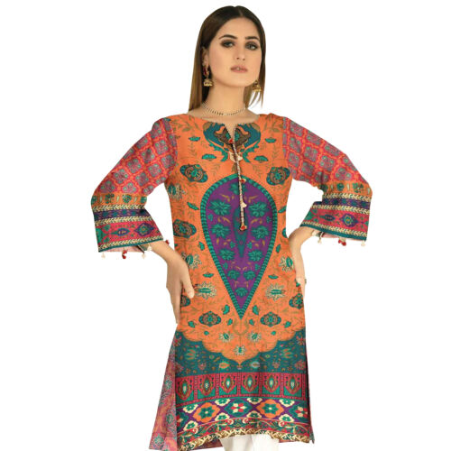 Plus Size Pakistani Indian Kurti Kurta Cotton Digital Print Tunic