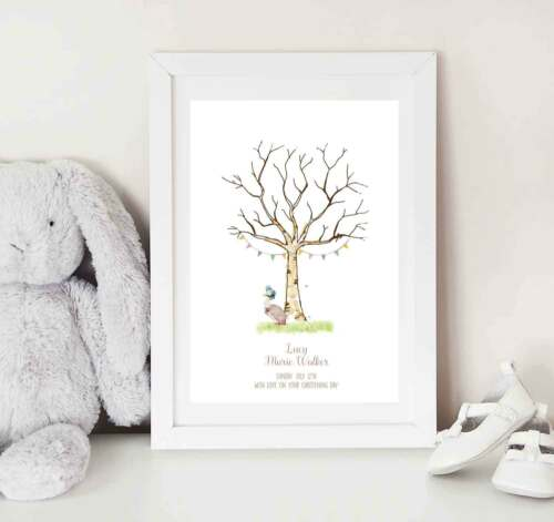 Jemima Puddleduck Girls Fingerprint Tree keepsake Guest book alternative