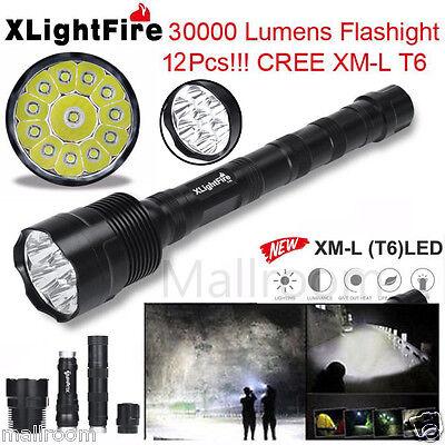 XLightFire 30000LM 12x CREE XML T6 5Modi 18650 Taschenlampe LED Torch Flashlight