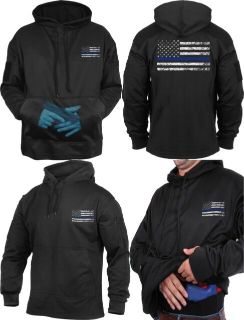 Black//Gray Thin Blue Line US Flag Support The Police Concealed Carry Hoodie