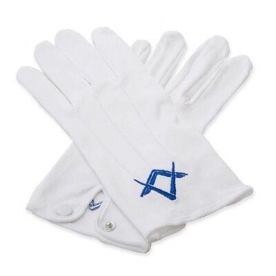 Aus Dem Ausland Importiert Weiß 100% Weiche Baumwolle Masonic Handschuhe Mit Königsblau Quadratisch & Modische Und Attraktive Pakete