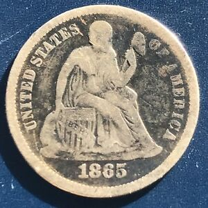 1865 S Seated Liberty Dime 10c RARE KEY DATE High Grade #9668