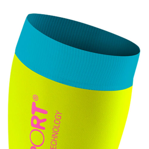 Kompression! Compressport Calf R2 Fluo yellow//blue Race /& Recovery