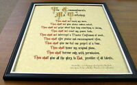 ten Commandments Of My Workshop, Framed Ready To Display In Your Shop