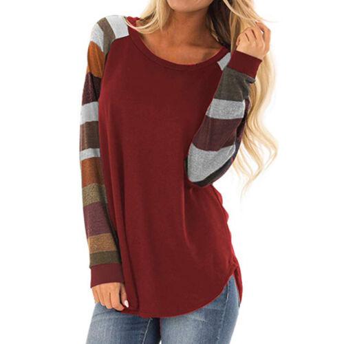 Women Long Sleeve Striped Tee Casual Loose Top T-Shirt Blouse Tunic Sweatshirt 9