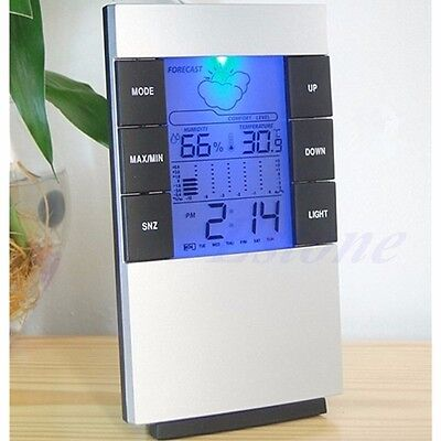 Indoor Digital LCD Hygrometer Thermometer Temperature Humidity Meter Clock Alarm