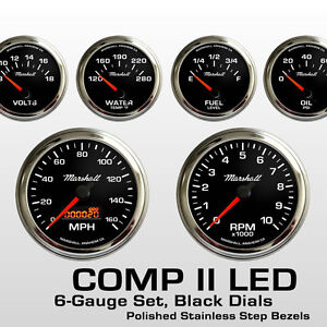 C2-6-Gauge-Set-Black-Dials-Stainless-Step-Bezels-73-10-Ohm-Fuel-Level-2068STP