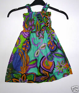49ab023e5f5 Image is loading GIRLS-COTTON-SUNDRESS-WITH-ELASTICATED-TOP-GREEN-PURPLE-
