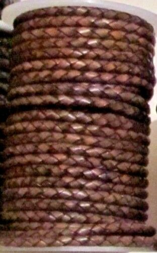 Quality 4 mm Braided Leather Antique Colours