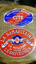 2 Étiquette Vintage Usine Papier Lessiveuse La Samaritaine Poubelle La Cité 1930