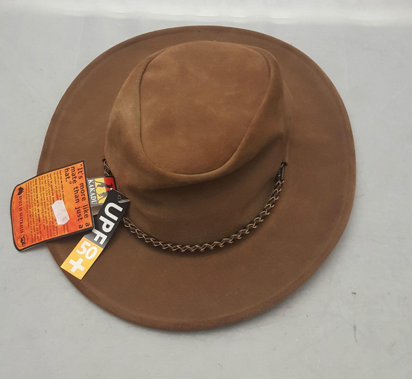 Kakadu in Pelle Scamosciata QUEENSLANDER Cappello Di Pelle Marrone Taglia Large (59cm) ** NUOVO **