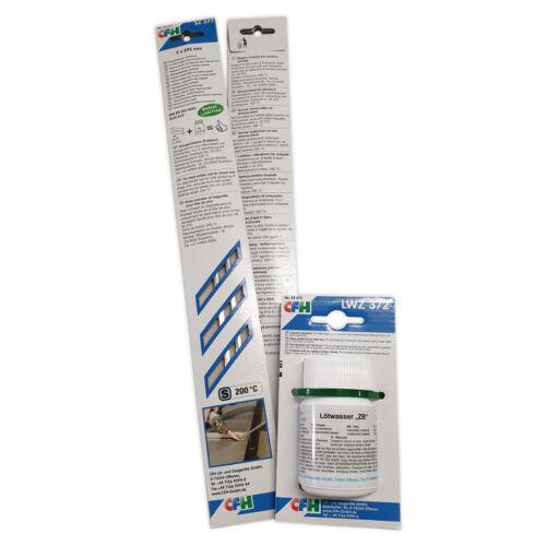 CFH Set Stangenlötzinn Zinkblech bleifrei 4 Stangen und Lötwasser 100g Spezialfl
