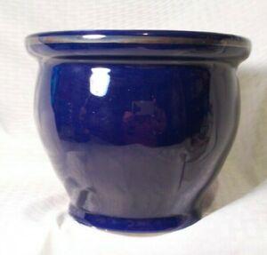 Vintage-New-England-Pottery-Cobalt-Blue-Planter-6-034-tall