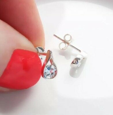 Sterling Silver BLUE TOPAZ EARRINGS 925 STUDS Ladies/Girls GIFT FAST Free P&P!