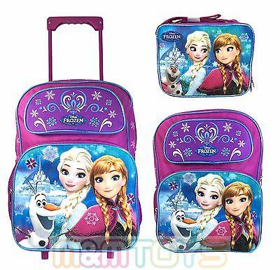 """Disney Frozen Anna Elsa 16"""" Lunch Bag Large School Backpack Rolling Bag (1pc)"""