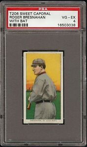 1909-11-T206-HOF-Roger-Bresnahan-W-Bat-Sweet-Caporal-350-St-Louis-PSA-4-VG-EX