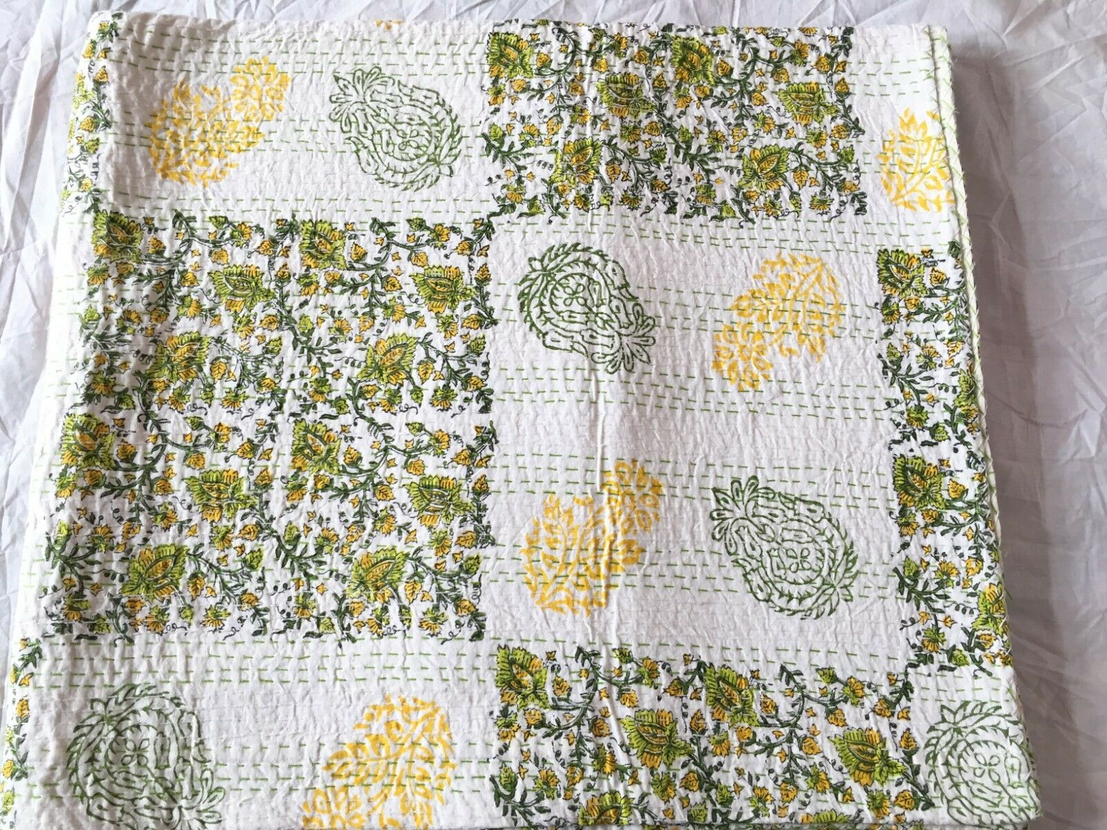Indian Handmade Quilt White.Kantha Bedspread Throw Cotton Blanket Gudri, Queen