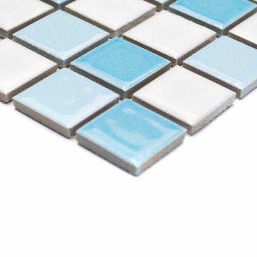 Quadrat mix blau//weiß glänzend Keramik Mosaik 6mm Stark