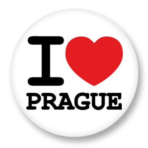 Magnet Aimant Frigo Ø38mm I Love Heart Coeur J/'aime Prague République Tchèque