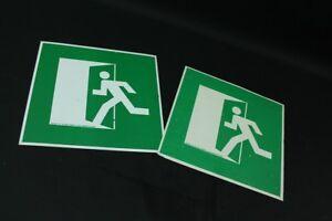 Old Shield Emergency Exit Rettungsweg Emergency Warning Sign Green 30cm x 30cm