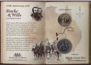 2010-Australian-Burke-amp-Wills-150th-Anniversary-Unc-2-coin-set-1-and-20-cent