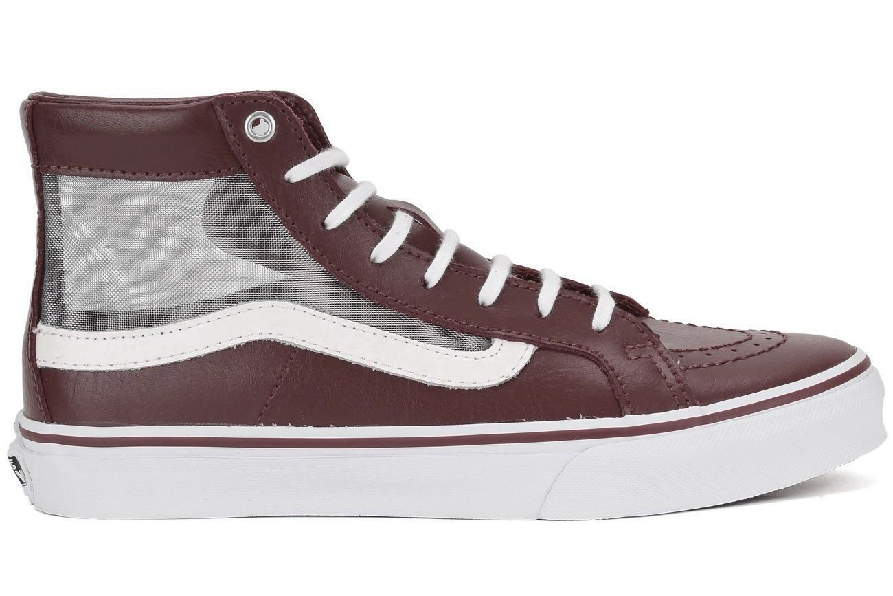VANS Sk8 Hi Slim Cutout (Mesh) Port/True WEISS Leder Casual WOMEN'S 7.5