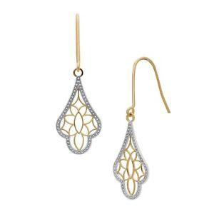 Eternity Gold Filigree Chandelier Drop Earrings in 14K Gold