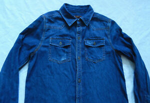 7-For-All-Mankind-Blue-Jean-Denim-Button-Down-Long-Sleeve-Shirt-Small-Mens