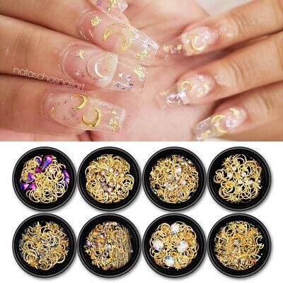 moon star gold metal 3d nail rhinestones studs nail art