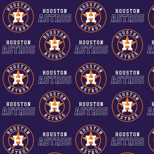 "Houston Astros Baseball Fabric-60/"" Wide-Astros Logo-BTY-Navy Background"