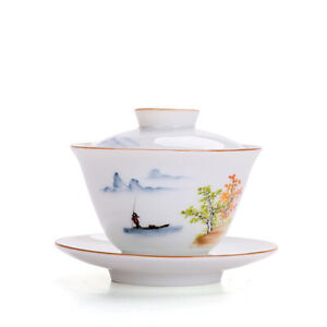 Newly listed porcelain gaiwan ceramic tureen covered bowl tea service lid saucer
