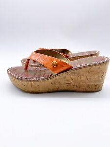 Sam Edelman Romy Orange Thong Cork Wedge Sandals Womens Size 7 M Heel Neutral