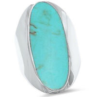 Big Oval Green Turquoise Shell .925 Sterling Silver Ring Sizes 5-12