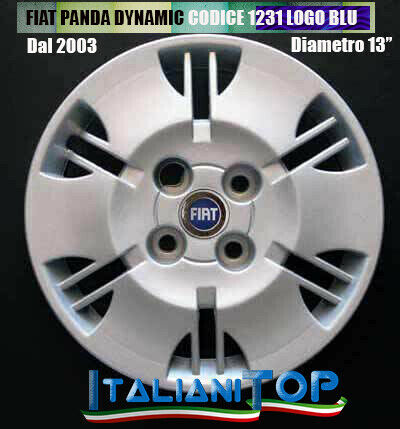 "4 FIAT PANDA DYNAMIC QUATTRO COPRICERCHI BORCHIE CODICE 1231 DIAMETRO 13/"""