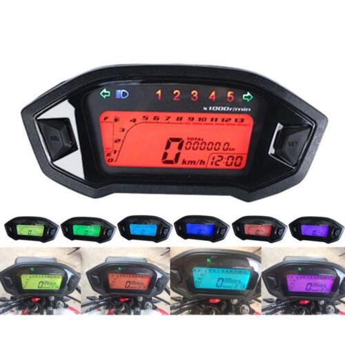 Universal Motorcycle LCD Digital Tachometer Speedometer Odometer Gauge 13000RPM