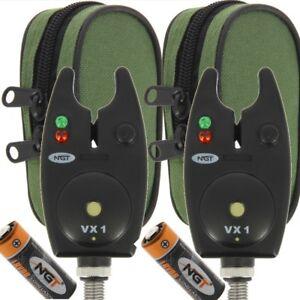 2-x-BITE-allarmi-NGT-VX1-per-Pesca-Carpa-Impermeabile-Nero-allarmi-con-batterie