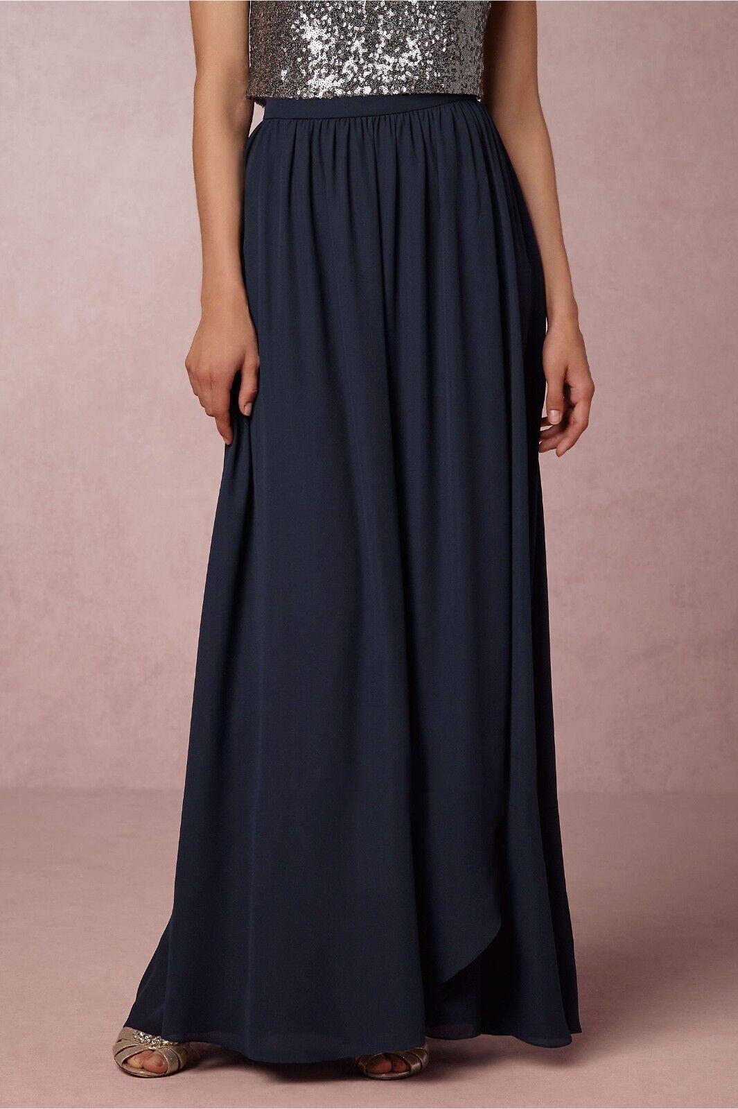 NEW Hitherto full length maxi navy Blau Jane Skirt in Bridal Party   BHLDN sz 2