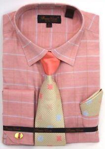 Men-039-s-Dress-Shirt-Tie-Hanky-Set-Coral-Light-Blue-Plaid-Cuff-Links-French-Cuff