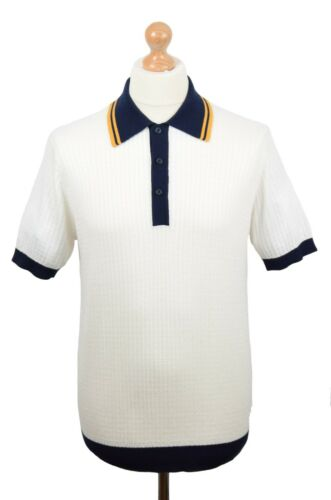 ART GALLERY CLOTHING OFF WHITE TEXTURED CONTRAST POLO MOD NORTHERN SOUL MODS