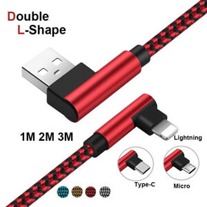 3-6-10ft-90-Elbow-Braided-Charger-Cable-iOS-Android-Sync-Data-For-Samsung-S9-S8