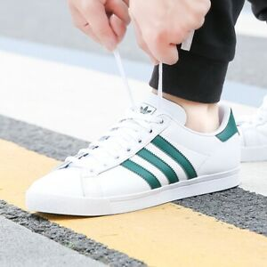 adidas Mens Originals Coast Star top leather trainers white/green ...
