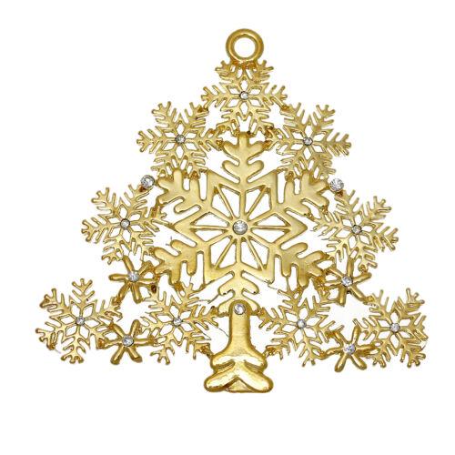 X93 GRANDE placcato oro filigrana strass fiocco di neve albero di Natale 8x7.7cm
