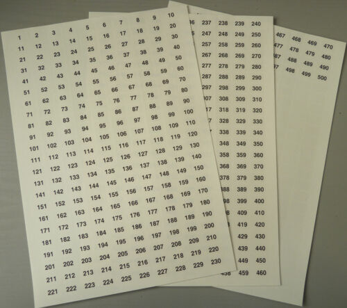 Clear 16x10mm Consecutive Sequential Number Sequence Labels Numbering Stickers